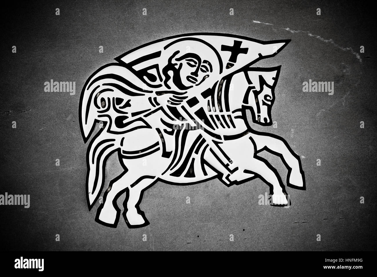 Knight on the horse - Zadar city seal street symbol - Stock Image