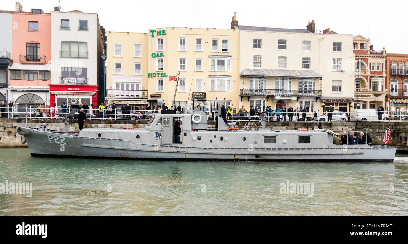 England, Ramsgate harbour. Restored American patrol boat, p22, with various dignitaries on board during the 75th - Stock Image