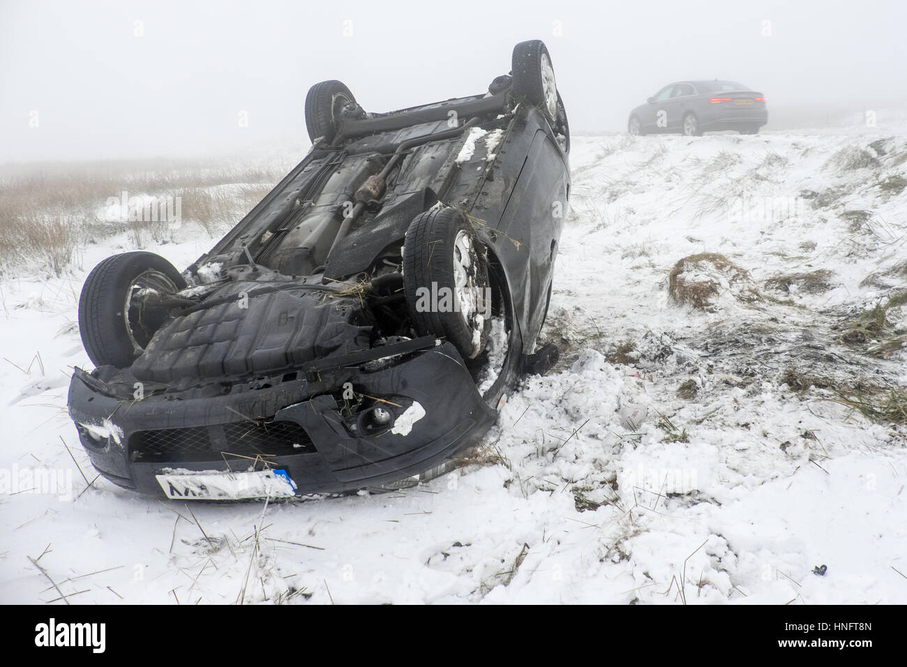 rta car crash in snow and ice on the a537 cat and. Black Bedroom Furniture Sets. Home Design Ideas