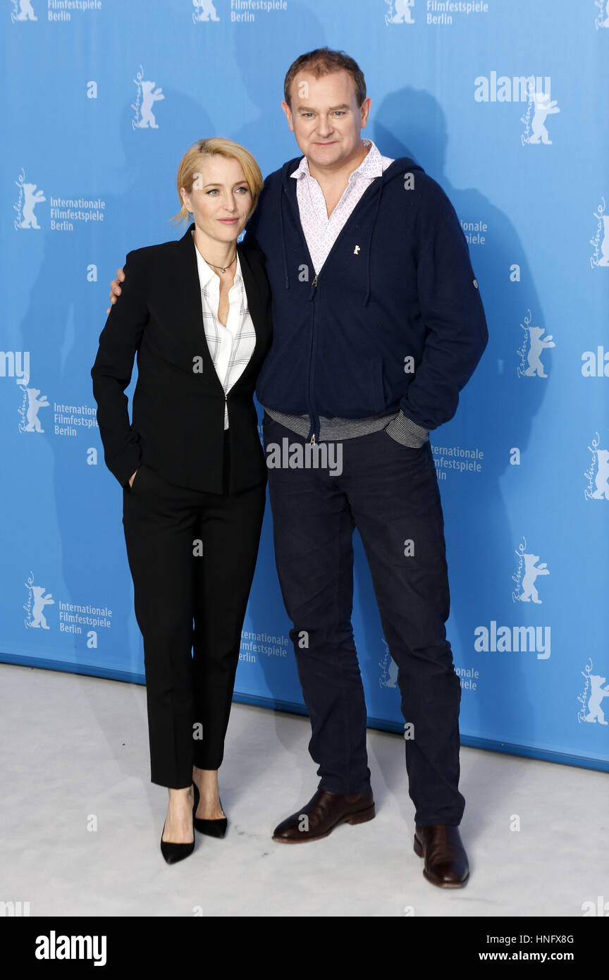 Berlin, Germany. 12th Feb, 2017. Gillian Anderson and Hugh Bonneville during the 'Viceroy's House' photocall - Stock Image