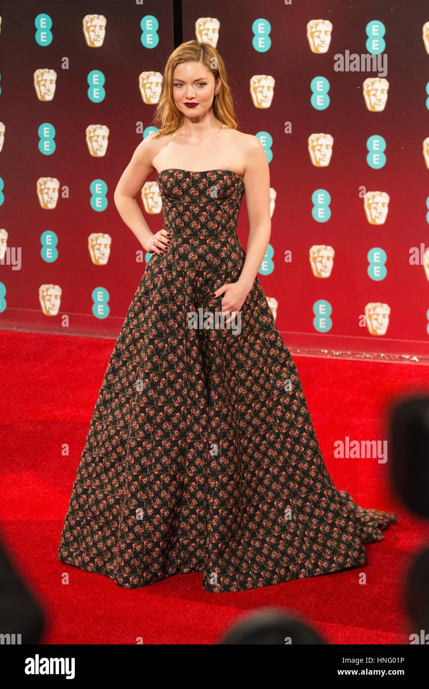 London, UK. 12th Feb, 2017. Holliday Grainger. Red carpet arrivals for the EE British Academy Film Awards, BAFTAs, - Stock Image