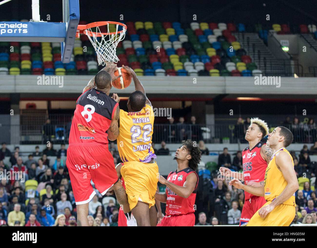 London, UK. 12th February, 2017. Leicester Riders defeat London Lions  84-80 in overtime at Copper box, Olympic Stock Photo