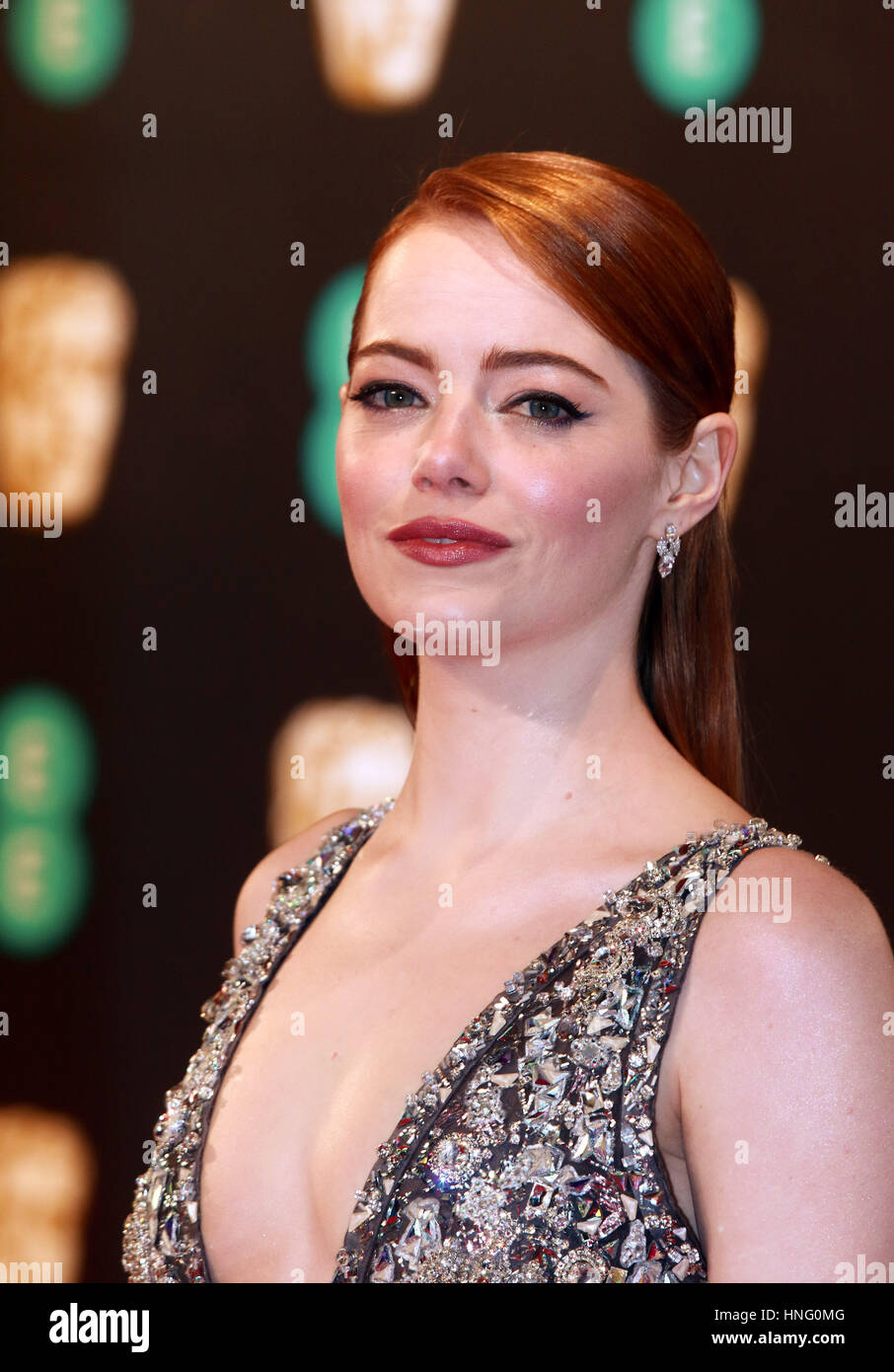 London, UK. 12th February 2017. Emma Stone at the 70th British Academy Film Awards. The EE BAFTA 2017 was held at - Stock Image