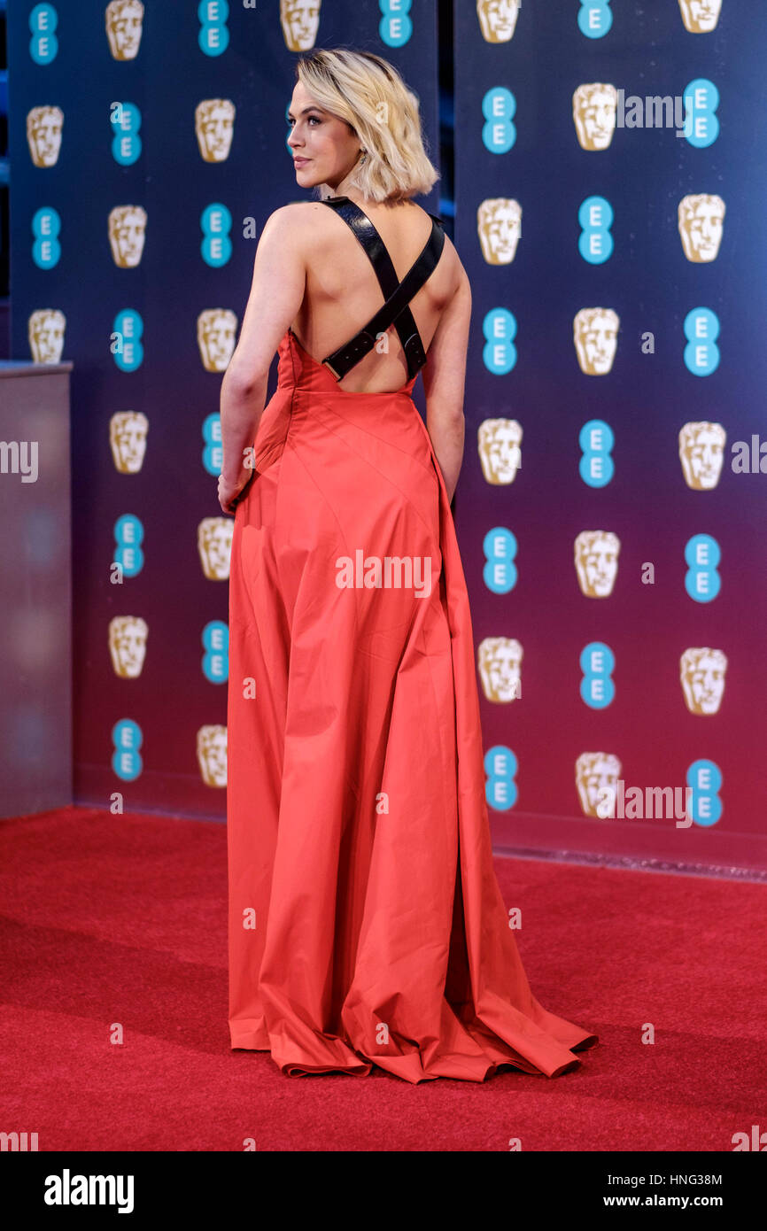 London, UK. 12th February 2017. Jessica Brown Findlay arrives at the EE British Academy Film Awards on  12/02/2017 - Stock Image