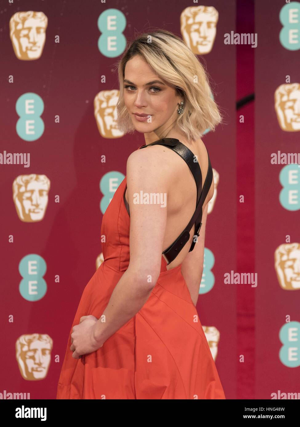 London, United Kingdom Of Great Britain And Northern Ireland. 12th Feb, 2017. Jessica Brown Findlay attends EE British - Stock Image