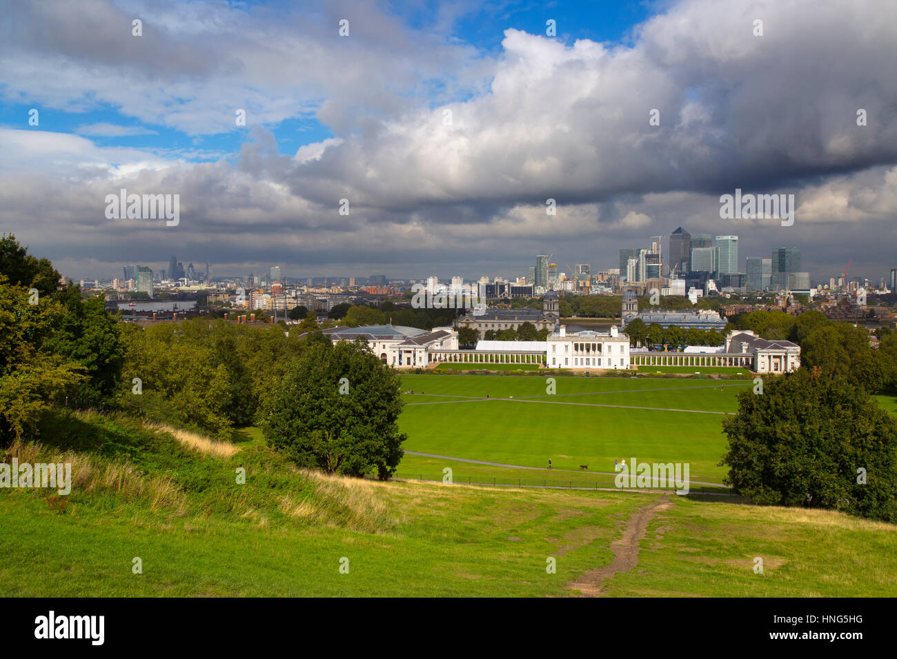 Canary Wharfe & Central London from Greenwich Park - Stock Image