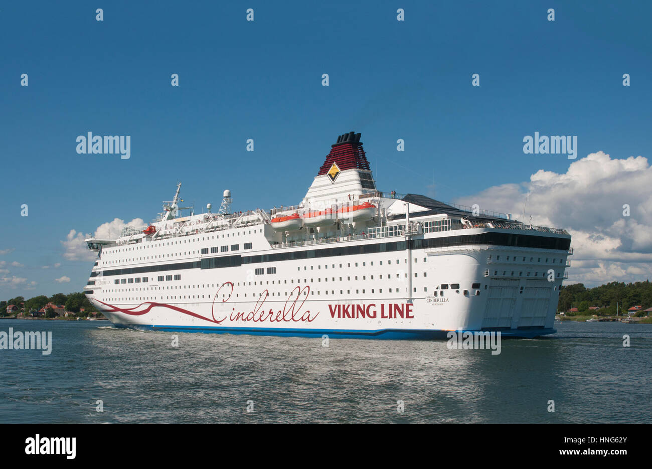 Viking Line's cruiseferry at Furusund in the Stockholm archipelago, Sweden - Stock Image