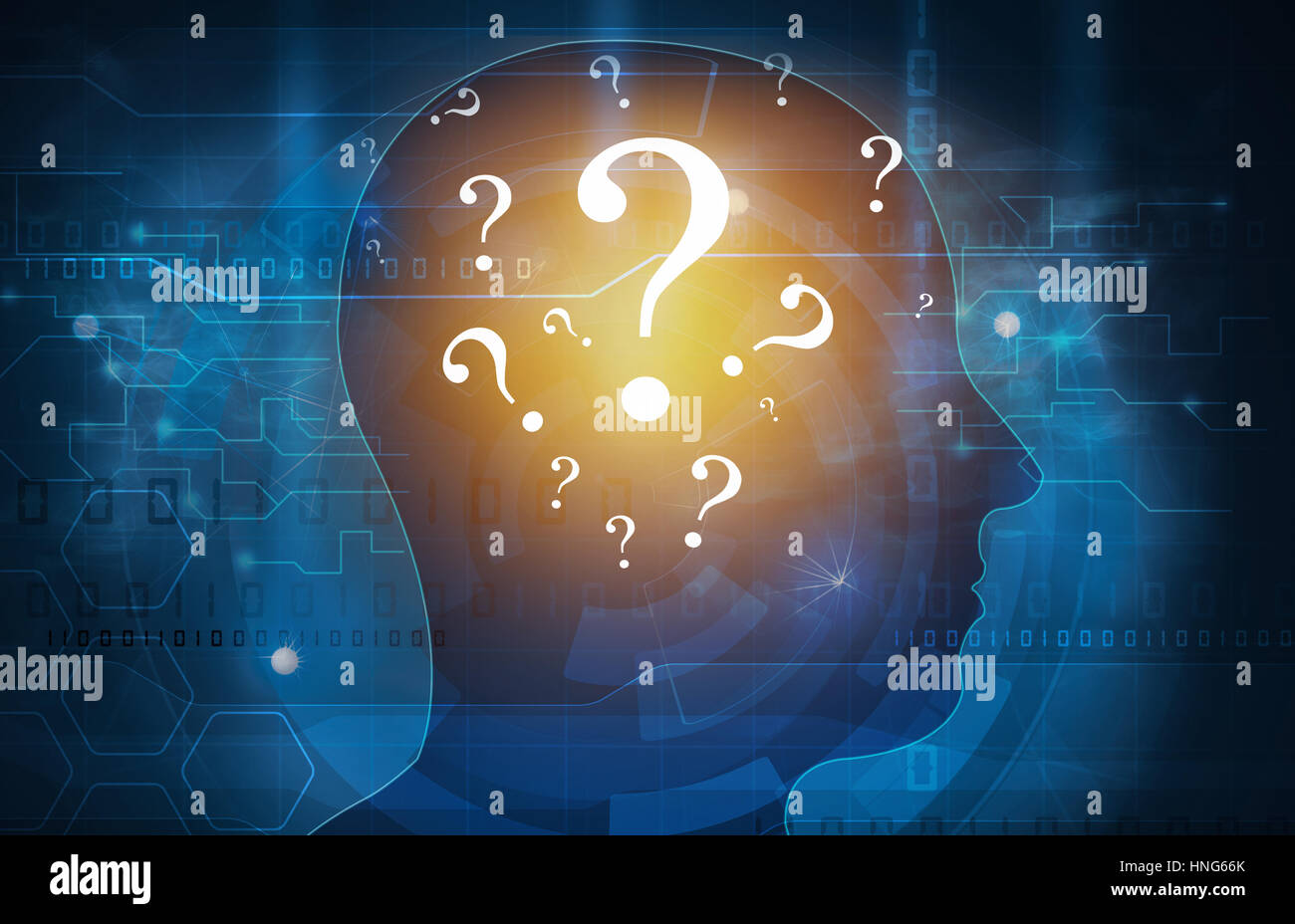 question mark head - Stock Image