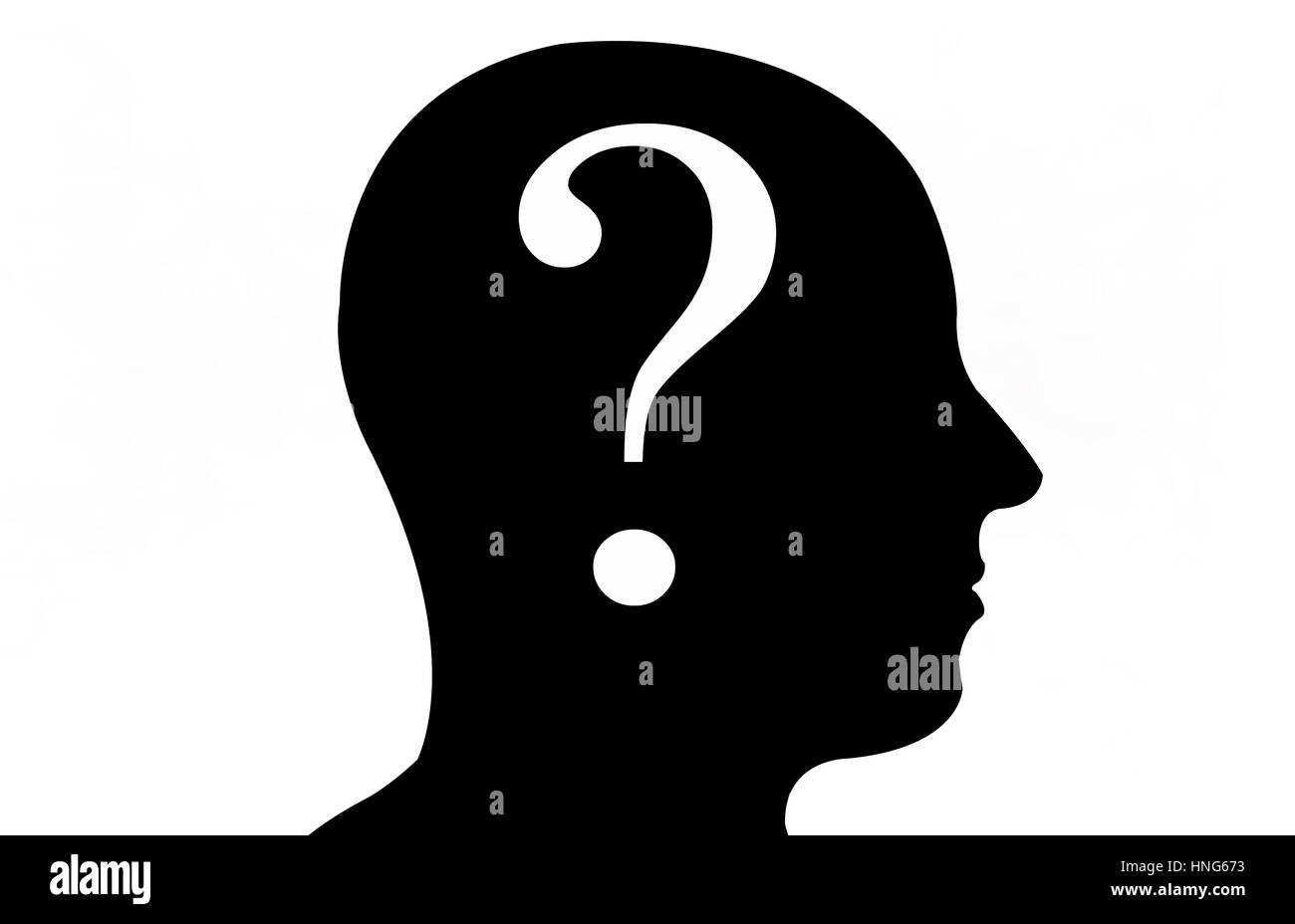 head silhouette with question mark - Stock Image
