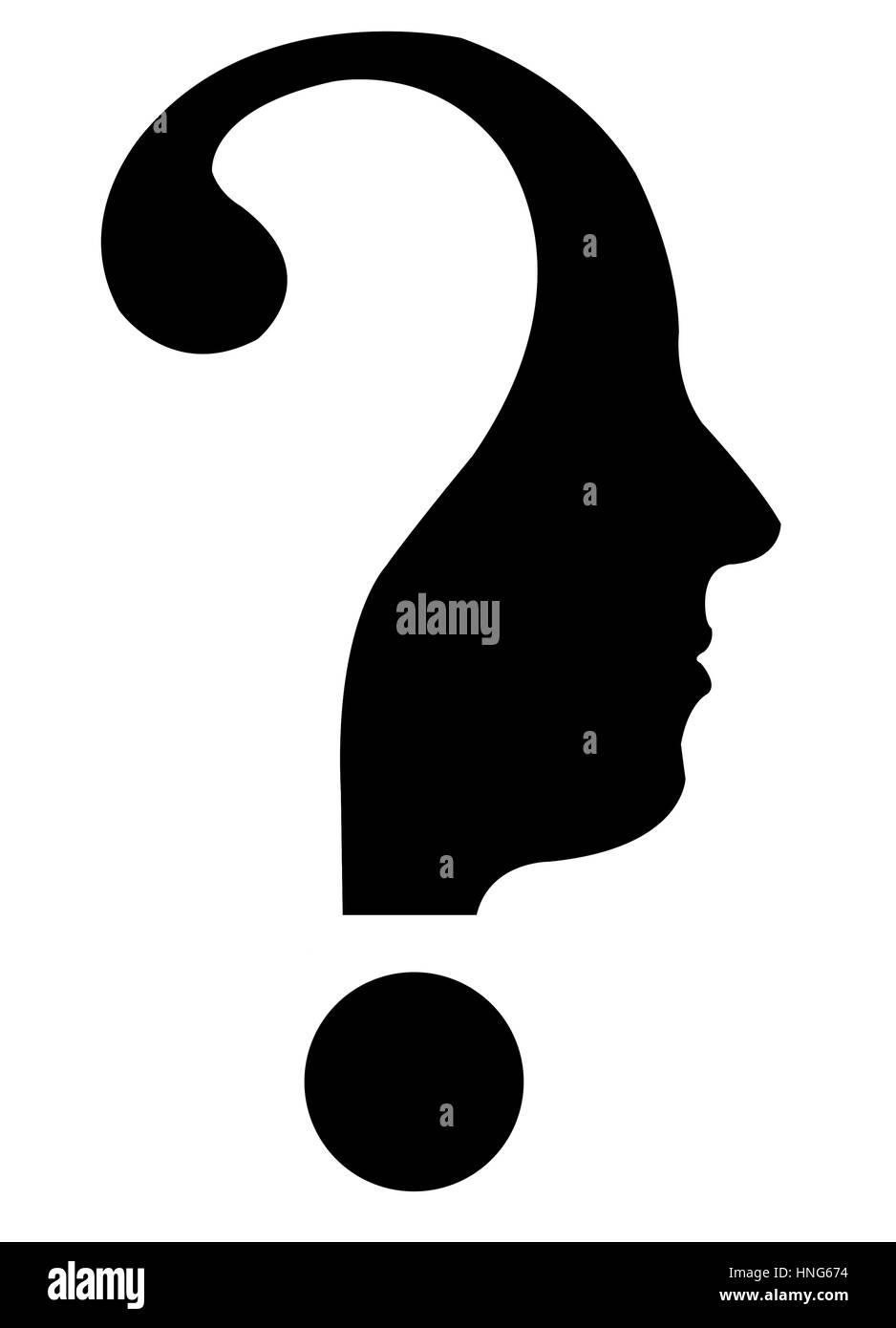 questionmark head - Stock Image