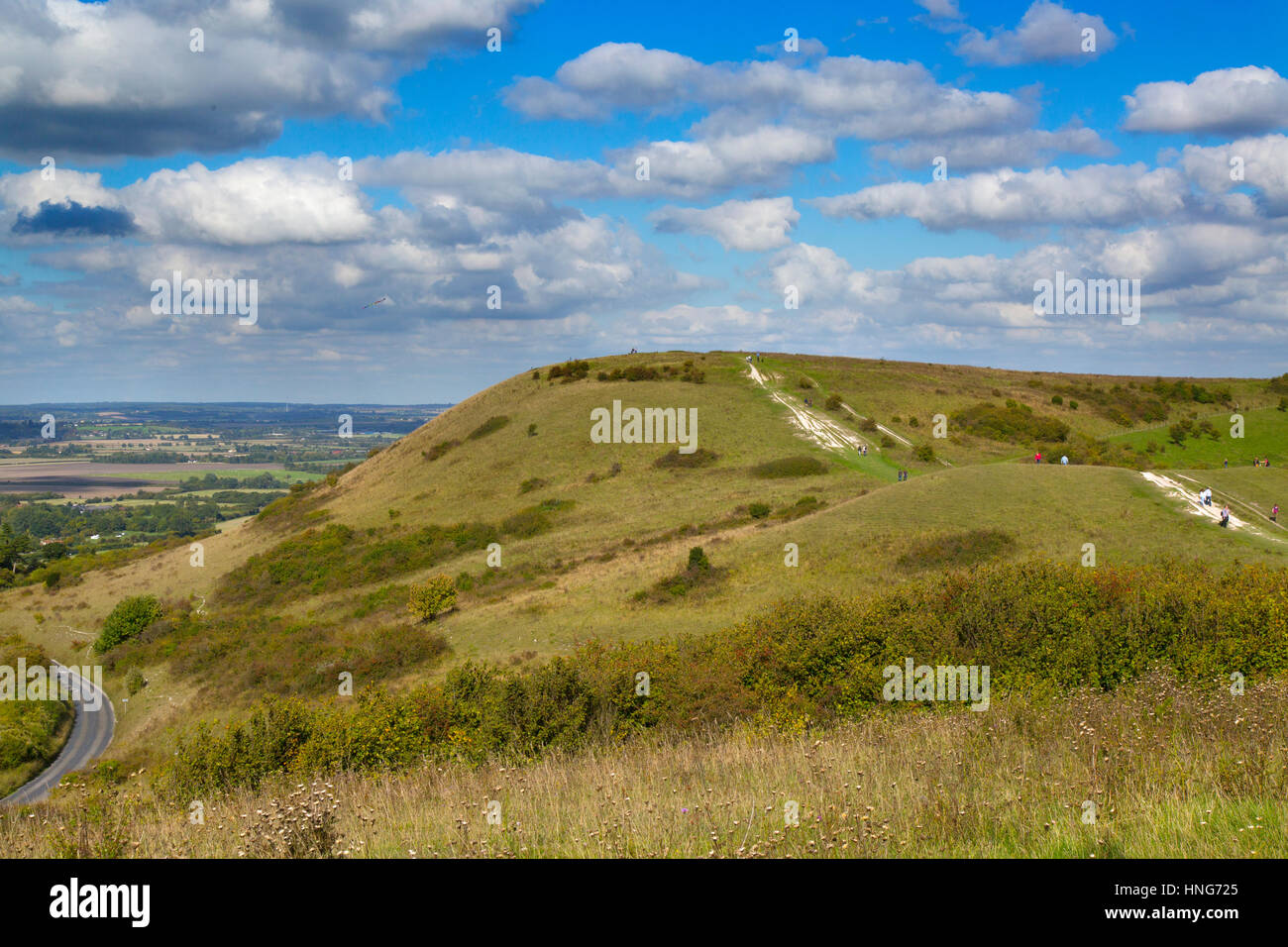 The Ridgeway Path towards its finish on Ivinghoe Beacon Bucks - Stock Image