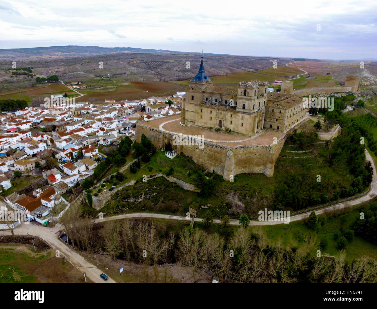 Drone Shot of monastery in Spain (Uclés) - Stock Image