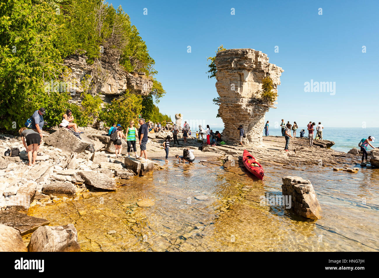 Flowerpot Island at Fathom Five National Marine Park on Bruce Peninsula, Georgian Bay, close to Tobermory, Ontario, - Stock Image