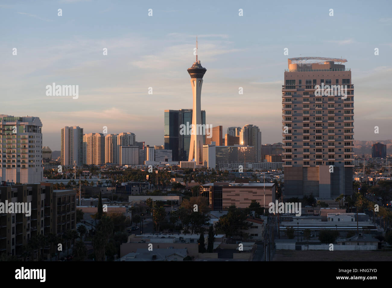 The Las Vegas skyline is seen during sunrise on Oct. 25, 2016. - Stock Image