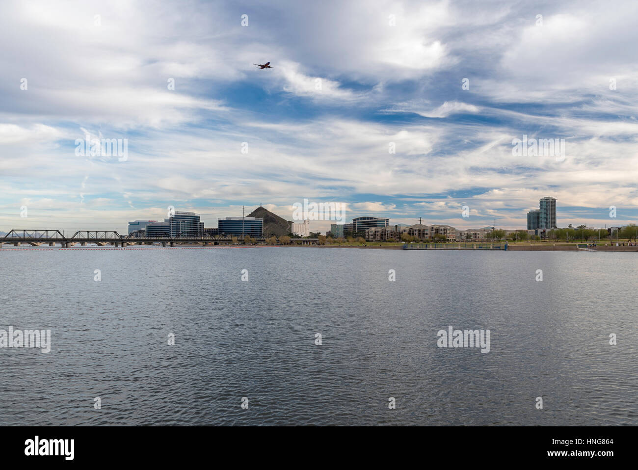 Tempe Town Lake and Downtown Tempe Arizona - Stock Image