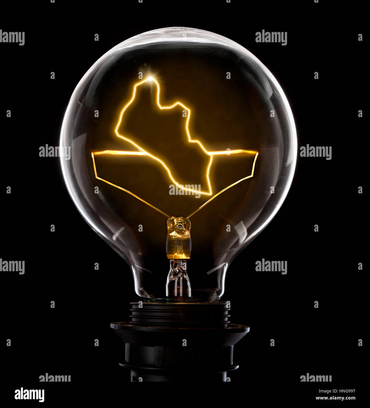 Clean and shiny lightbulb with Liberia as a glowing wire.(series) - Stock Image