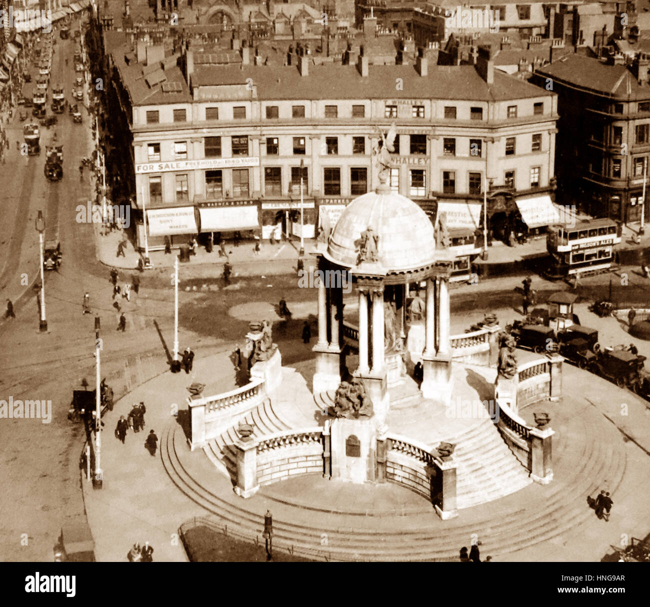 St. George's Circus, Lord Street, Liverpool - probably 1920s - Stock Image