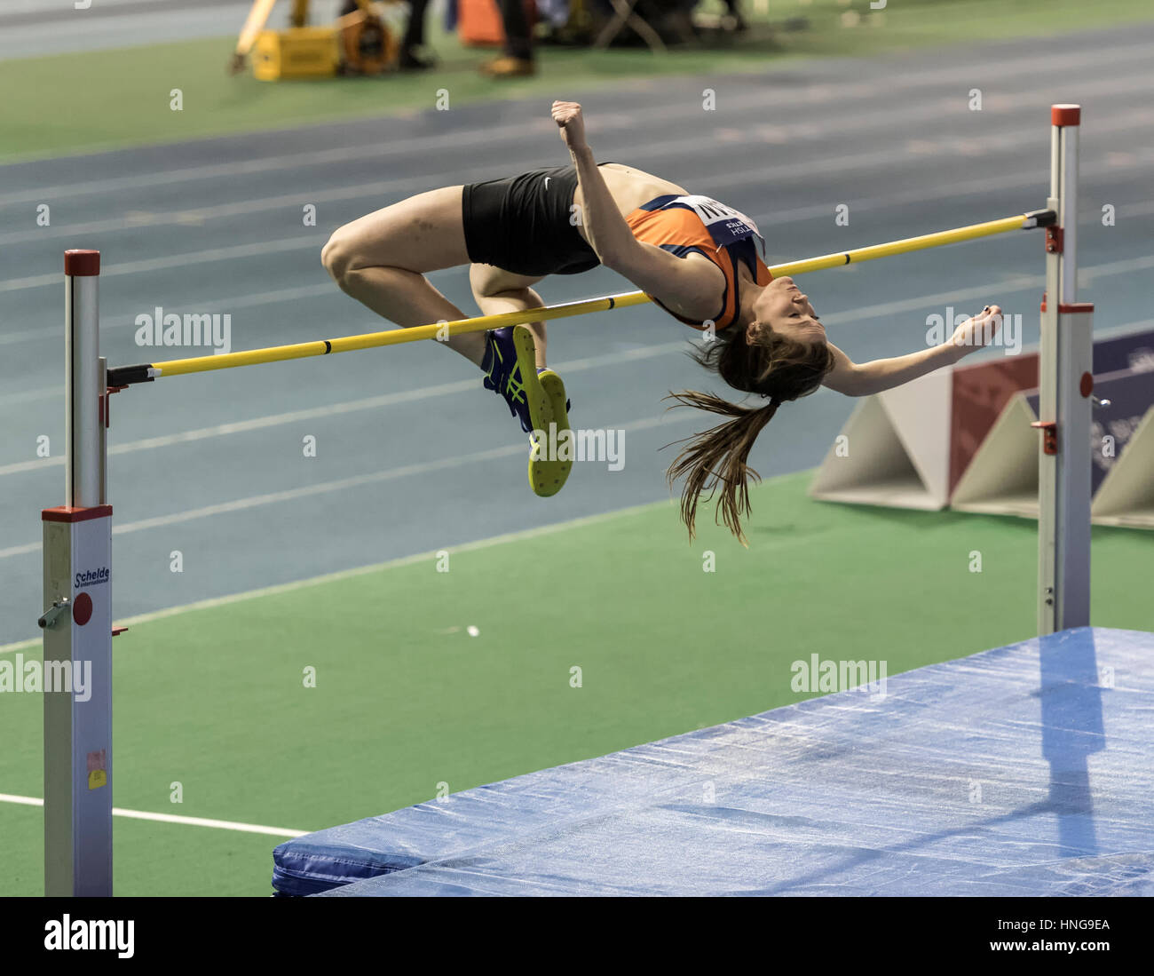 Philippa Rogan competes in the Womans high jump final. - Stock Image