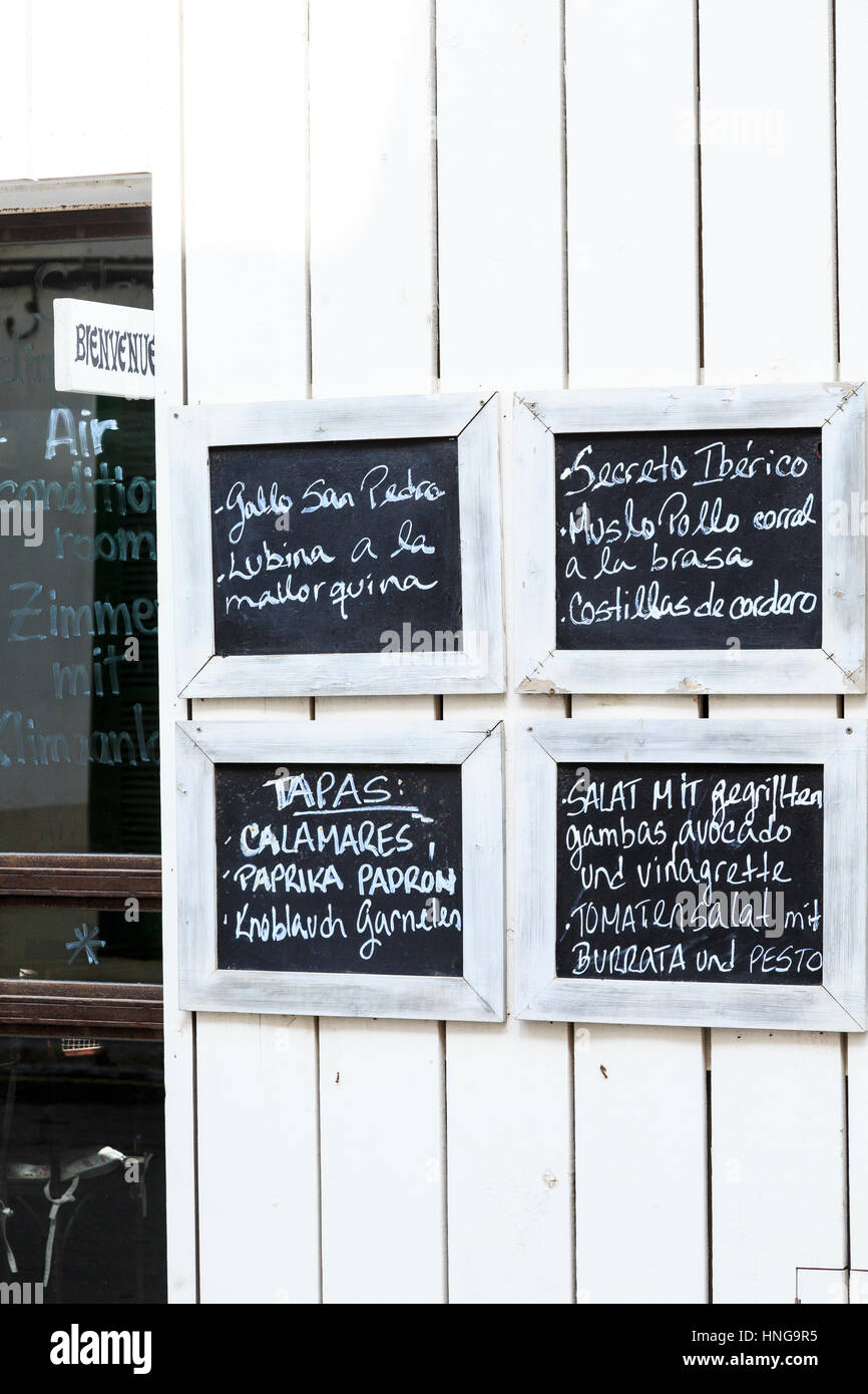 Restaurant wall menu, Ses Salines, Mallorca - Stock Image