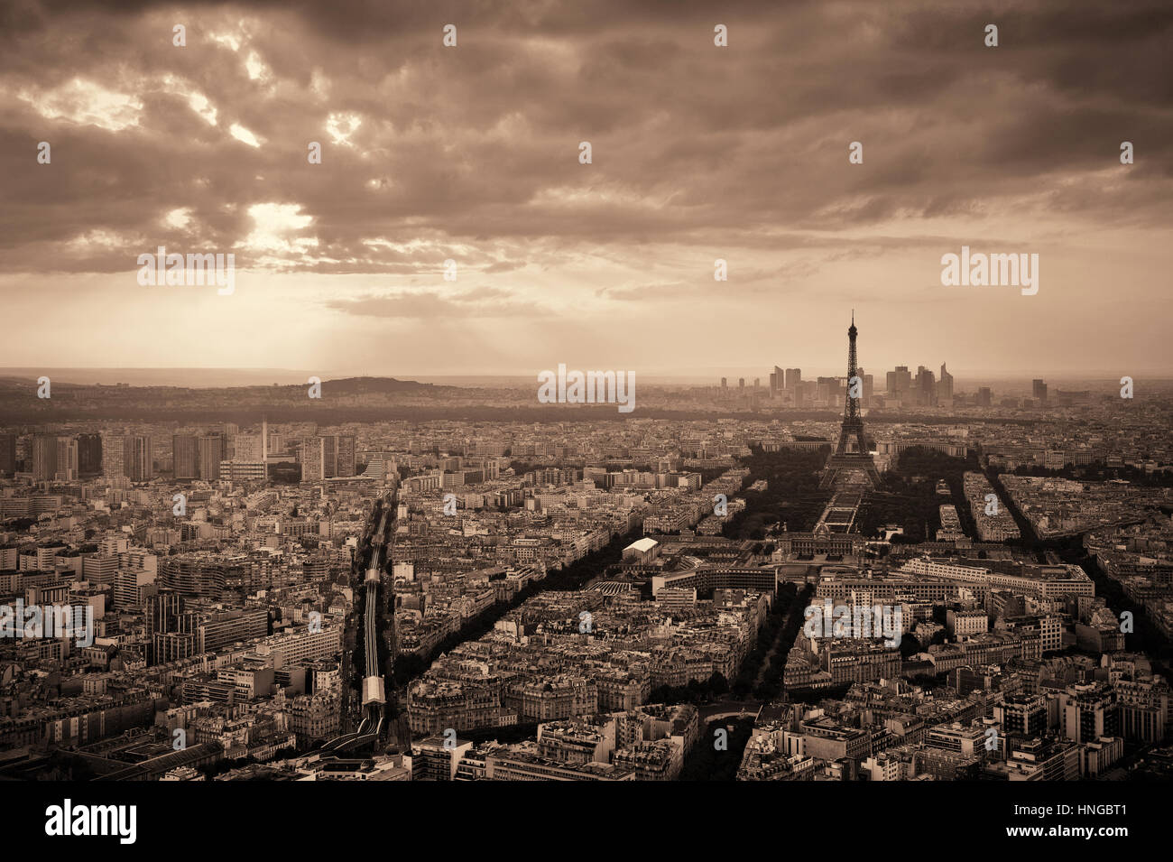 Paris city rooftop view with Eiffel Tower black and white. Stock Photo
