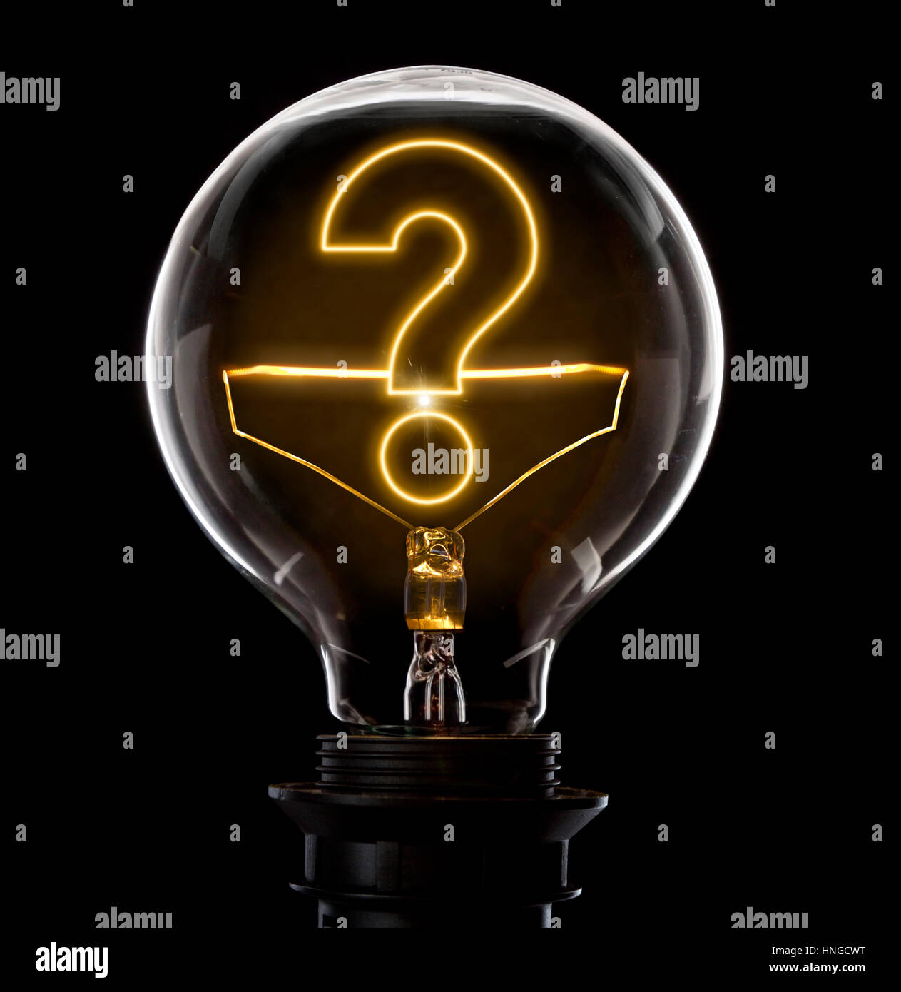Clean and shiny lightbulb with a question mark as a glowing wire.(series) - Stock Image