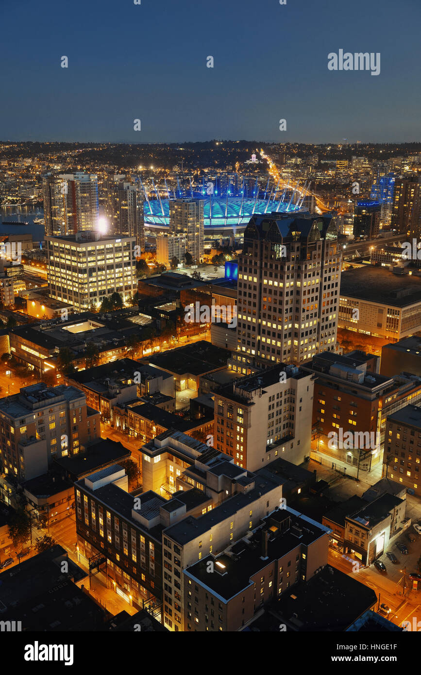 Vancouver rooftop view with urban architectures at dusk. - Stock Image
