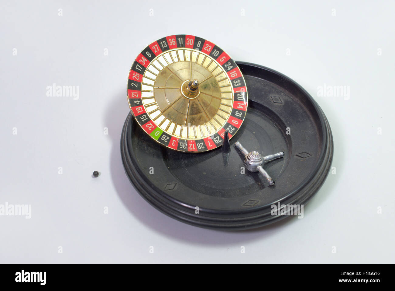 Toy roulette, broken down into its component parts - Stock Image