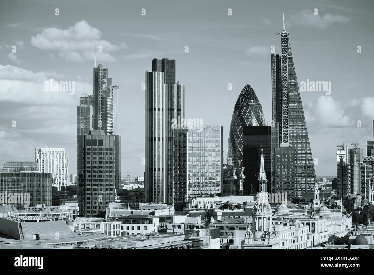 London city rooftop view with urban architectures. - Stock Image