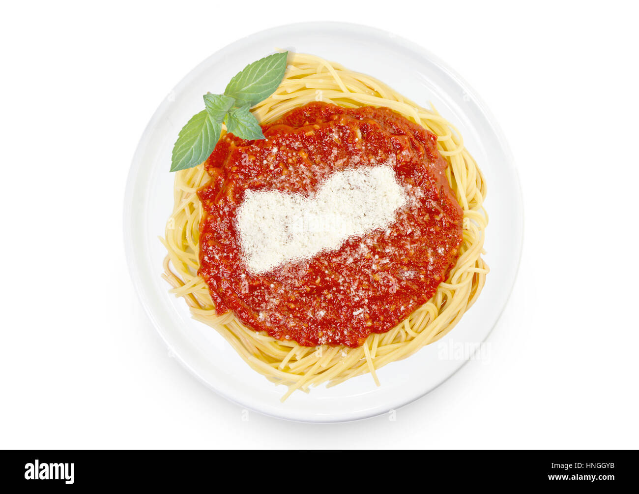 Freshly cooked dish of tasty pasta with tomato sauce and parmesan cheese in the shape of Yemen .(series) - Stock Image