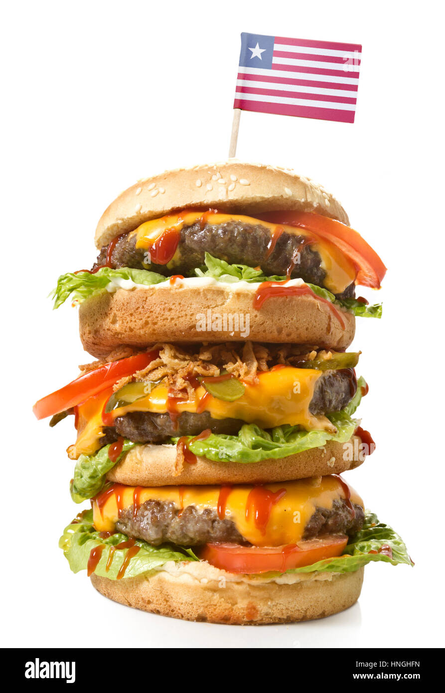 Fresh and tasty XXL hamburger with the flag of Liberia.(series) - Stock Image