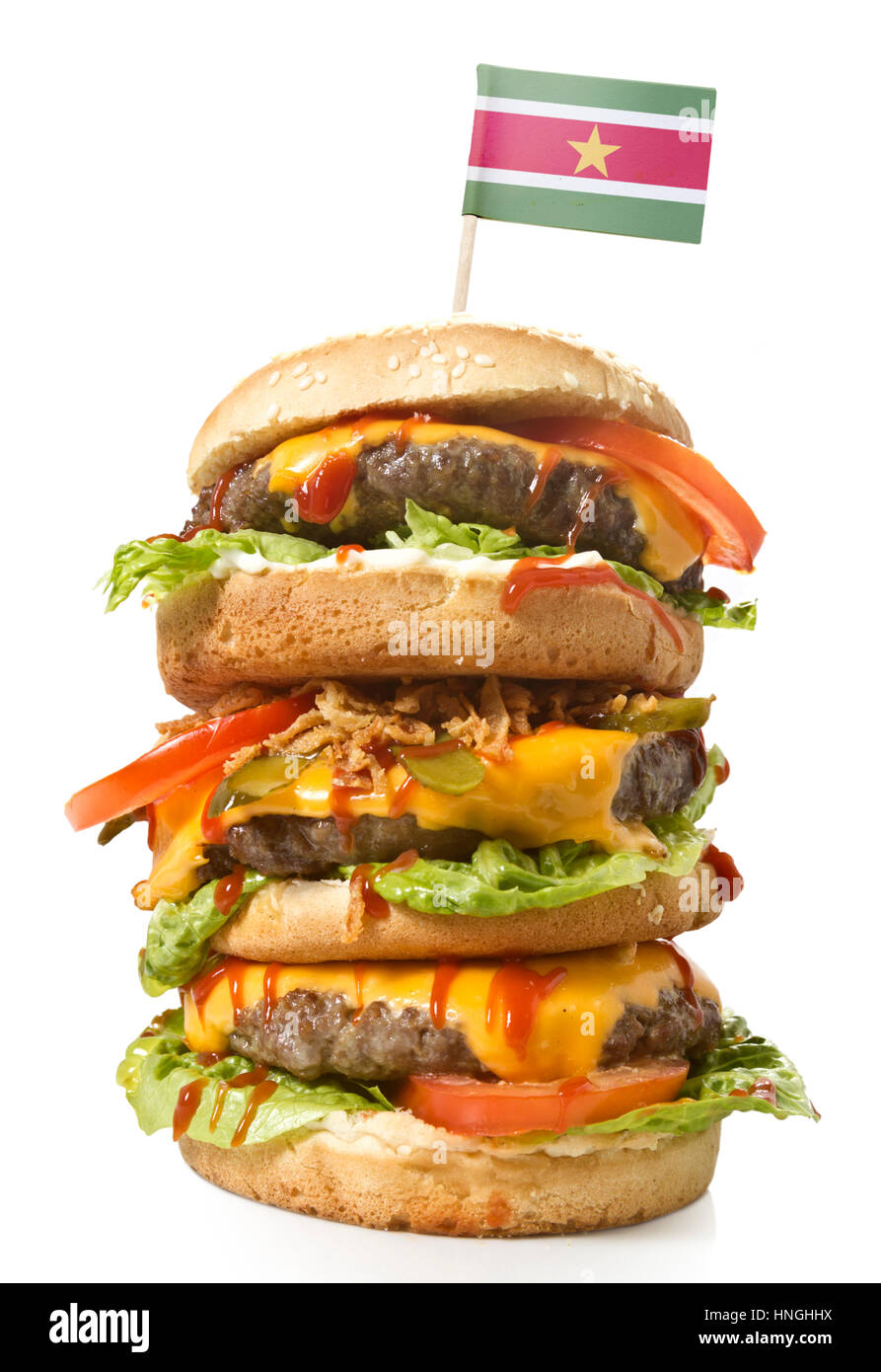 Fresh and tasty XXL hamburger with the flag of Suriname.(series) - Stock Image