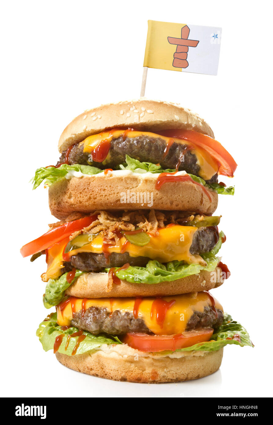 Fresh and tasty XXL hamburger with the flag of Nunavut.(series) - Stock Image
