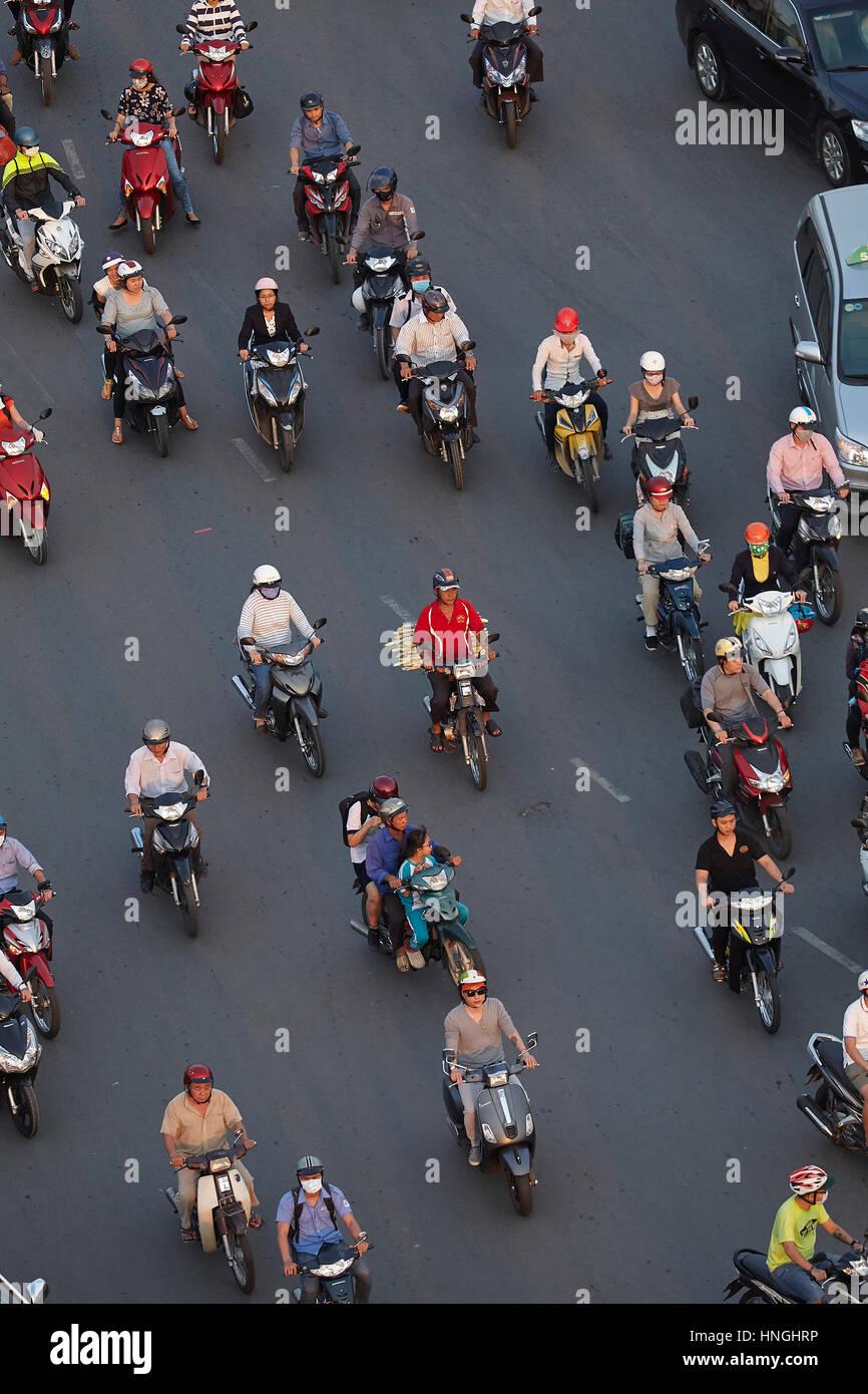 Motorcycles at Ben Thanh roundabout, Ho Chi Minh City (Saigon), Vietnam - Stock Image