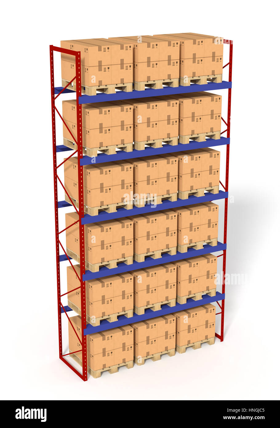 Warehouse shelves rack filled with brown boxes. Isolated on white background. Retail, logistics, delivery and storage concept. Generic containers rack Stock Photo