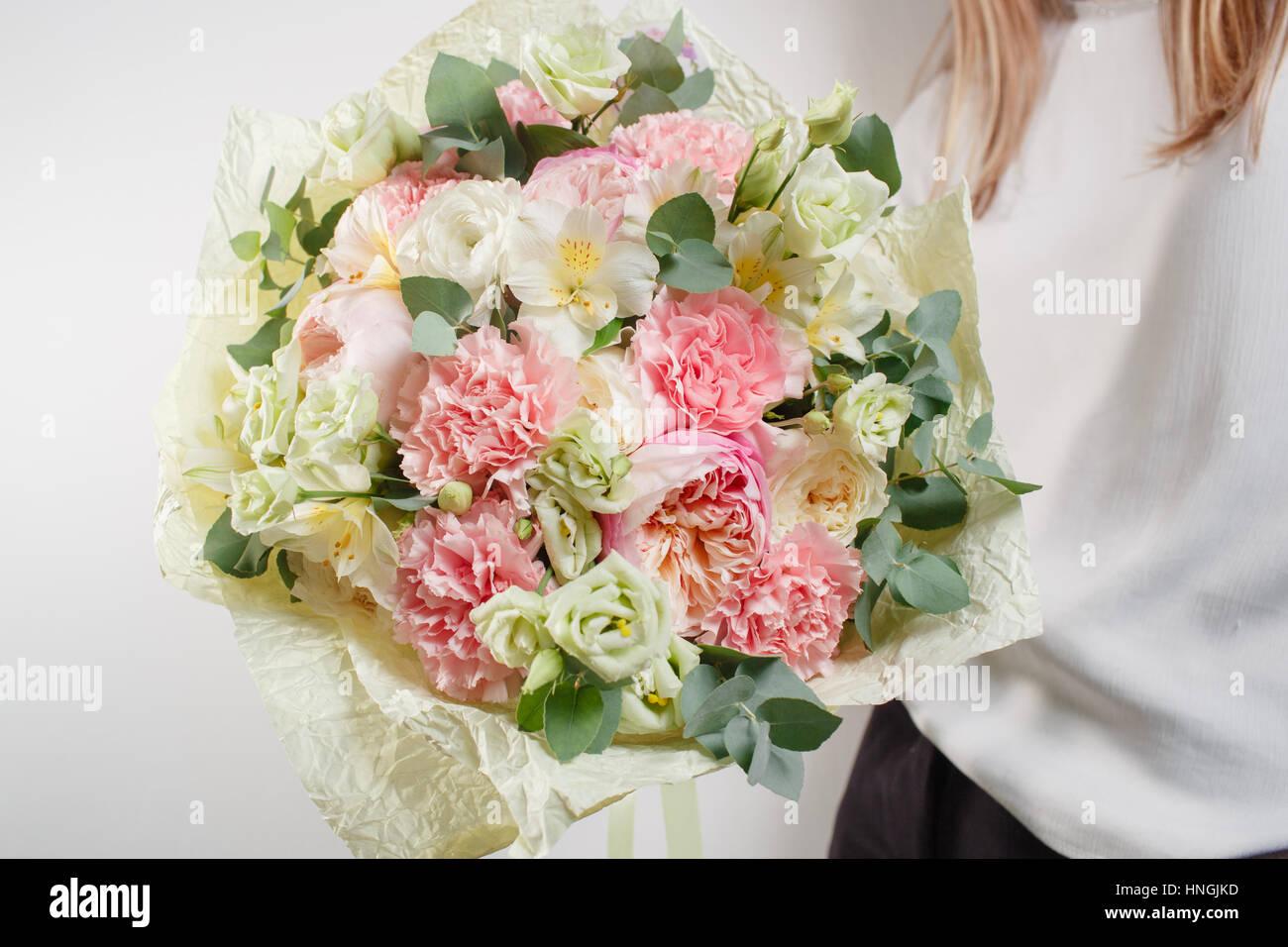 Beautiful bouquet made of different flowers with in woman hand stock beautiful bouquet made of different flowers with in woman hand colorful color mix flower izmirmasajfo