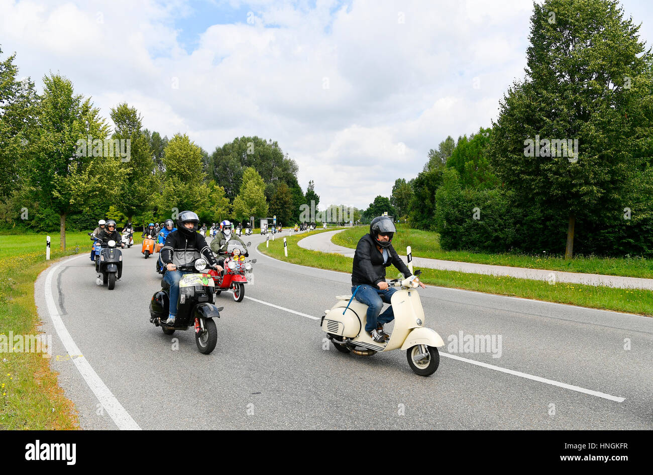 Vespa Scooter Tour Trip Drive Vintage Street Nature Historic Stock Photo Alamy