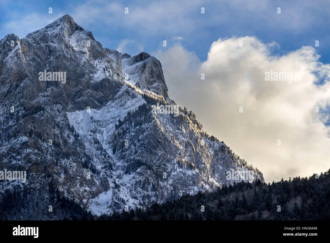 North face of the Pic de Morgon (Grand Morgon peak) in winter. Hautes-Alpes, Southern French Alps, France - Stock Image