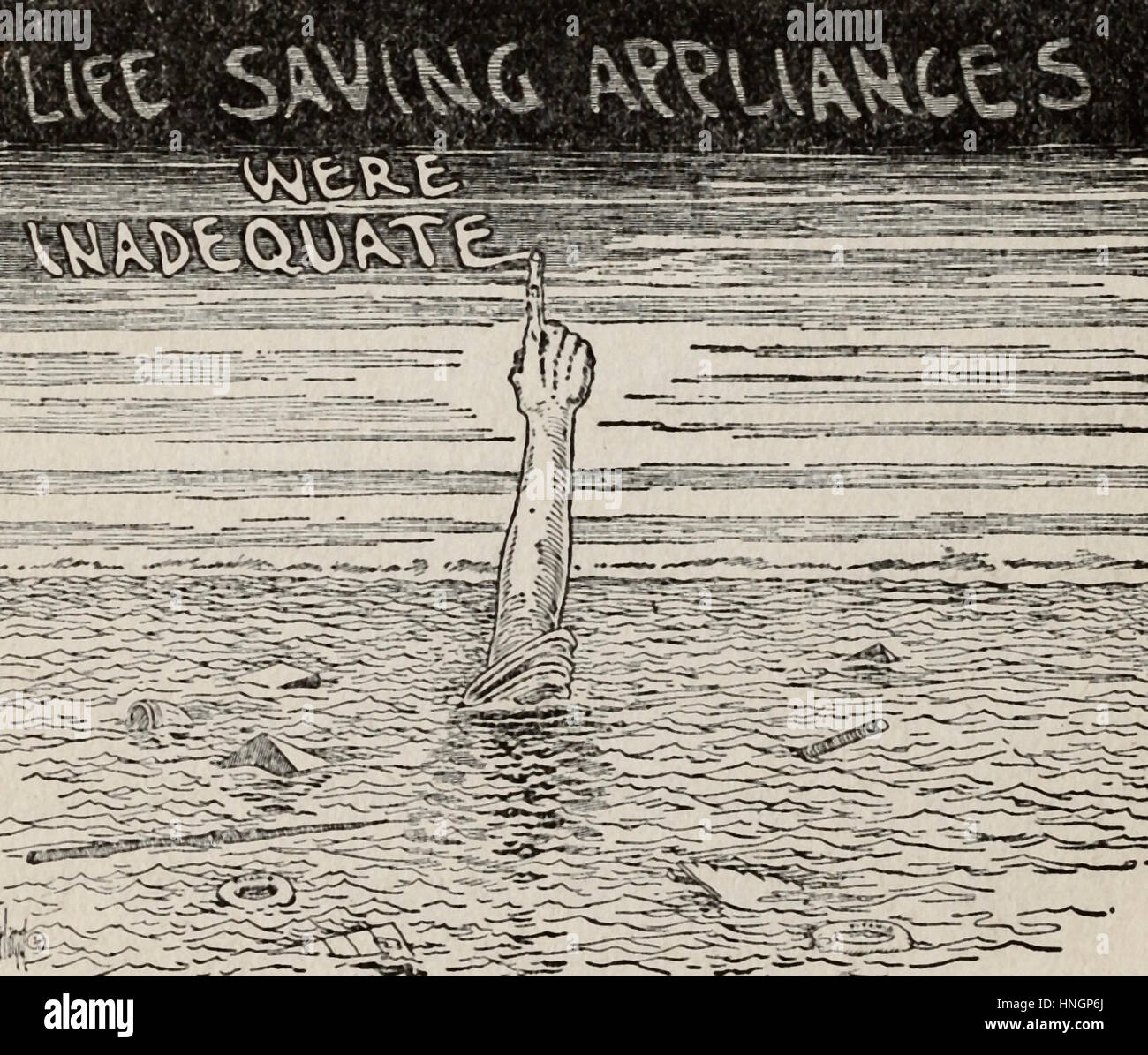 Life saving appliances were inadequate - Political cartoon after the Titanic Disaster - Stock Image