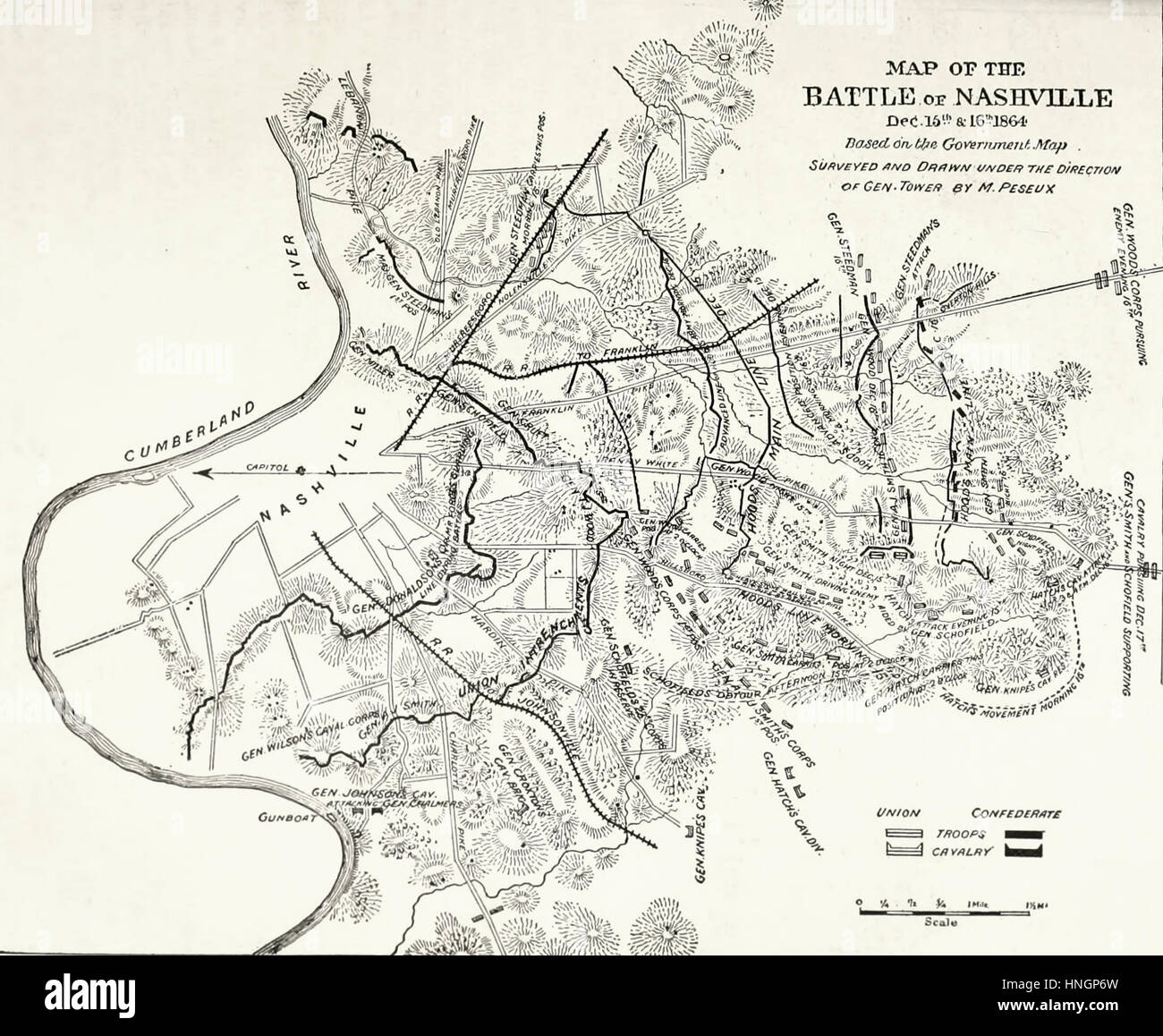 Map of the Battle of Nashville, December 15 and 16, 1864. USA Civil War - Stock Image