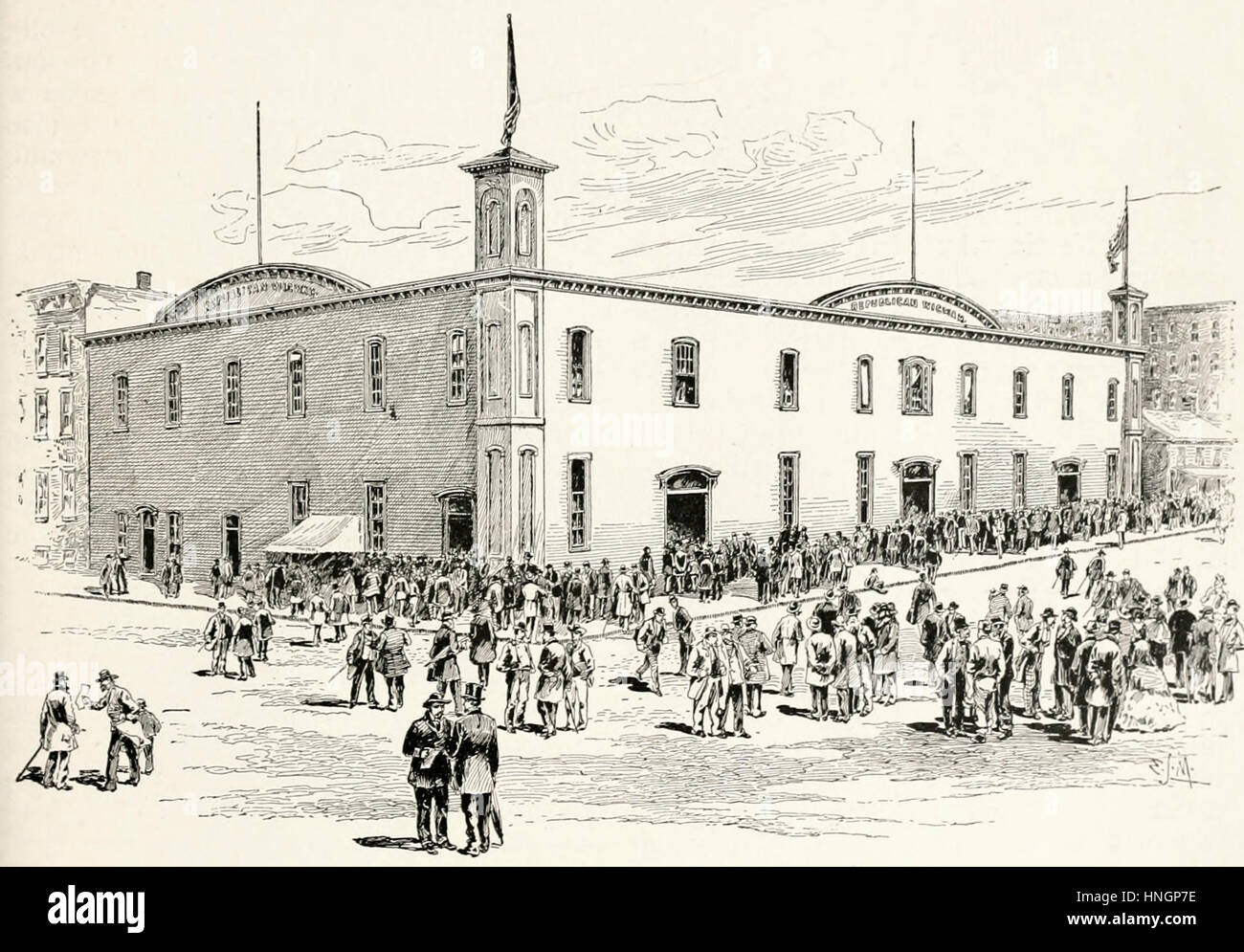 The Wigwam at Chicago, where Abraham Lincoln was nominated for President, 1860 - Stock Image