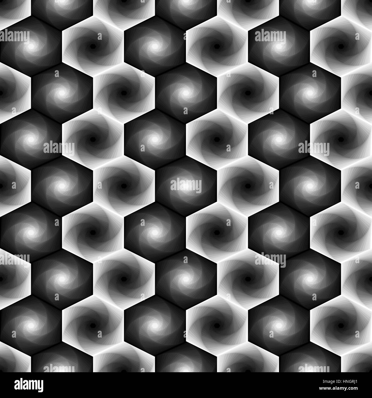 Abstract seamless vector pattern with rotating hexagonal shapes forming the whirling sequences in grey hues - Stock Vector