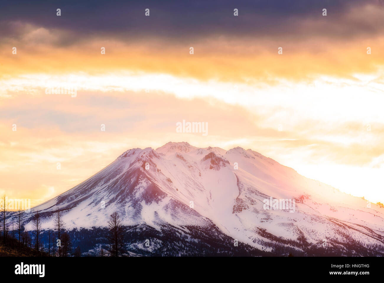 scenic view of mt Shesta when sunset in California,usa. - Stock Image