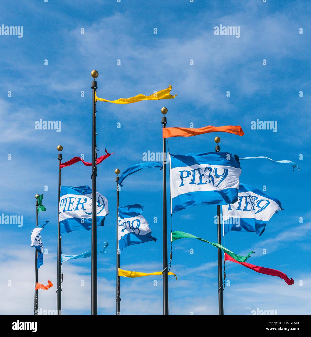 pier 39 flags on the blue sky,San francisco,California,usa. - Stock Image