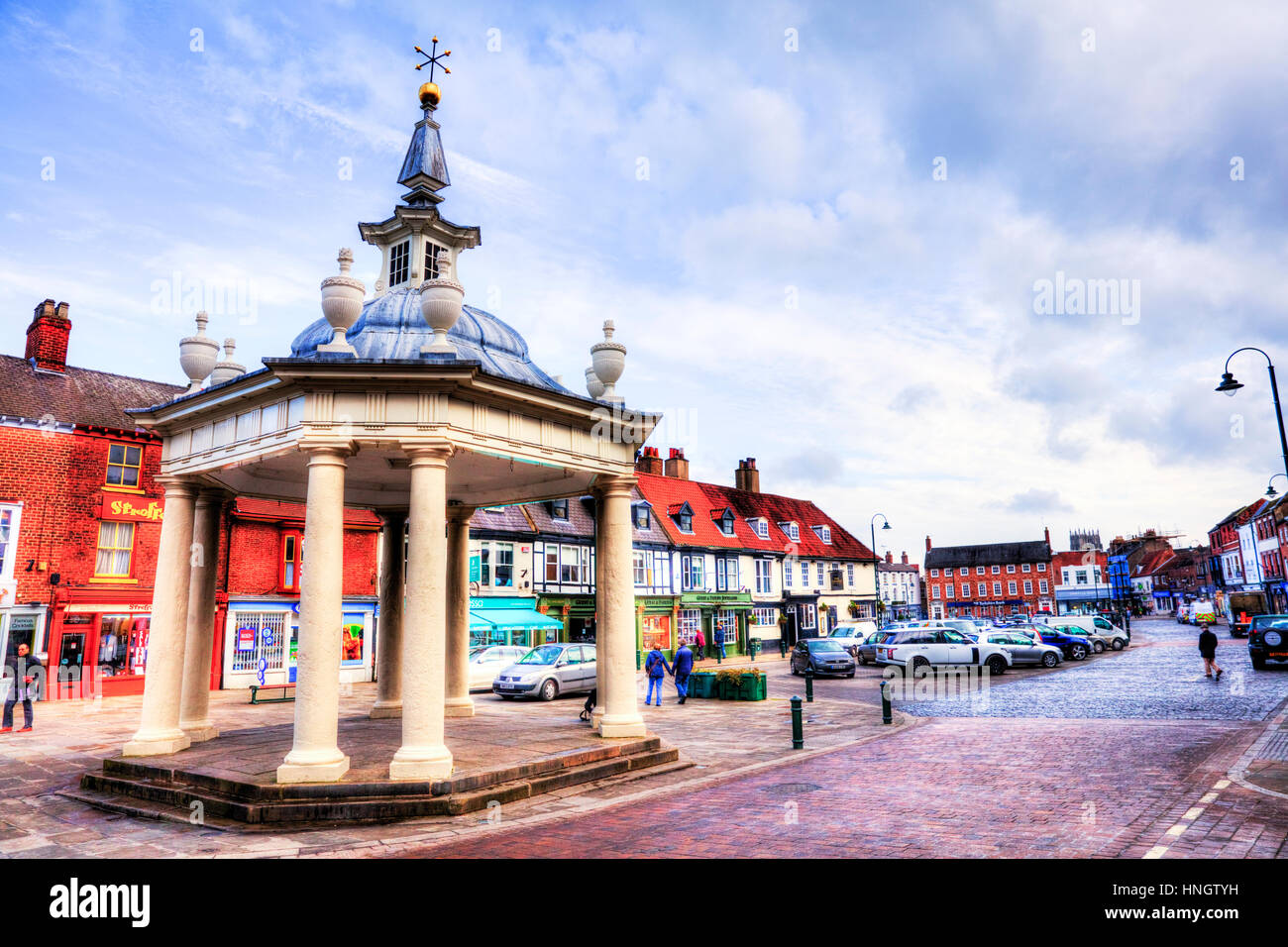 Beverley town centre east riding Yorkshire UK England Beverley bandstand market cross town center - Stock Image