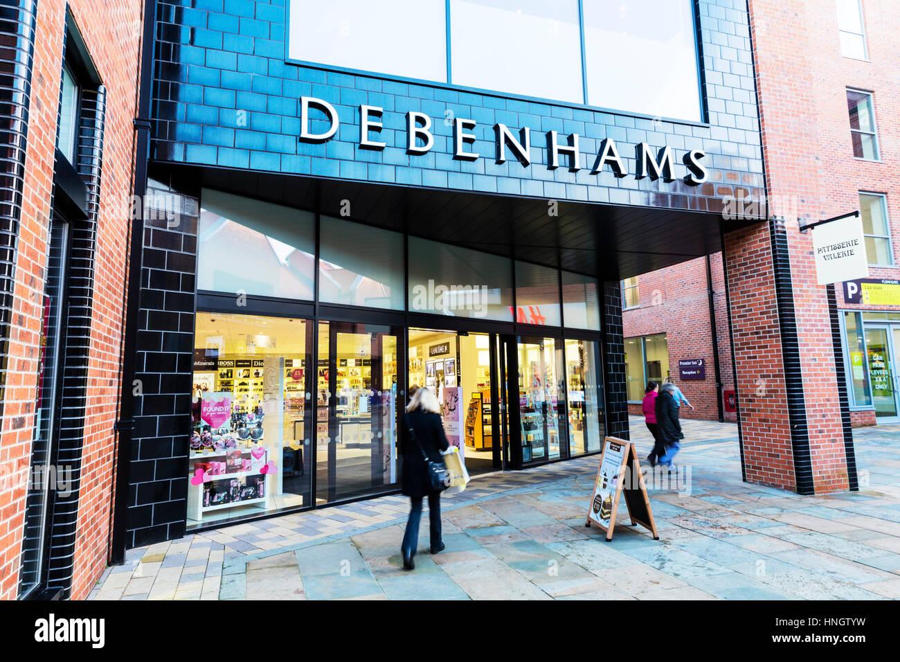 Debenhams department store entrance sign Beverley UK England Debenhams department stores shop shops - Stock Image