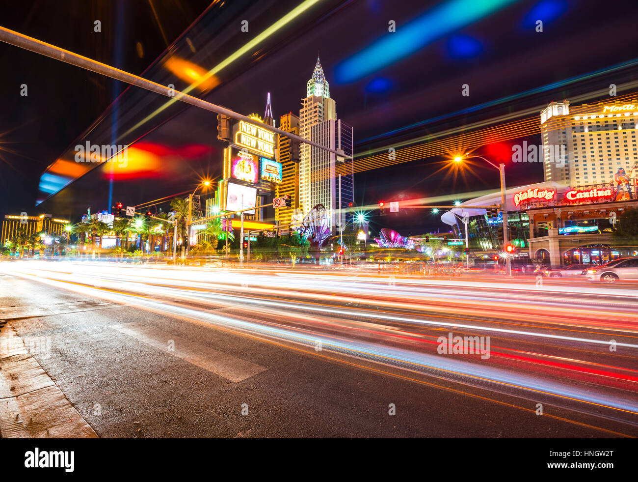 Las Vegas,Nevada,usa.07/28/16 : scenic view of Las Vegas cityscape at night with traffic lighting,las vegas,Nevada,usa. - Stock Image