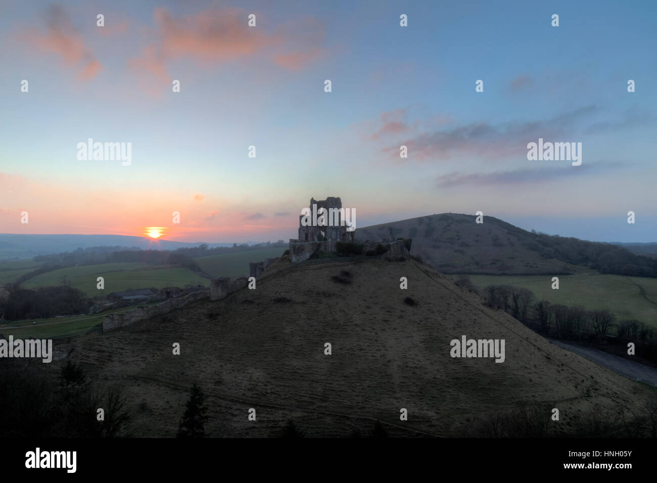 Corfe Castle, Dorset, England, UK - Stock Image