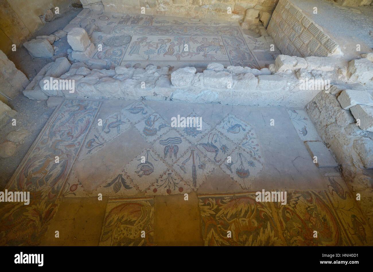 Ancien mosaic in Madaba, Jordan Stock Photo