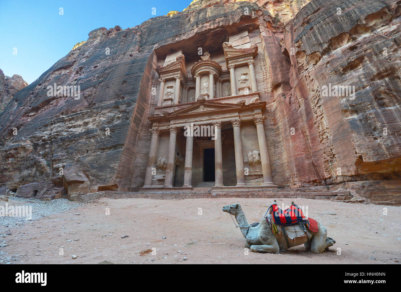 Al Khazneh in the ancient city of Petra, Jordan. The Treasury. Petra has led to its designation as a UNESCO World - Stock Image