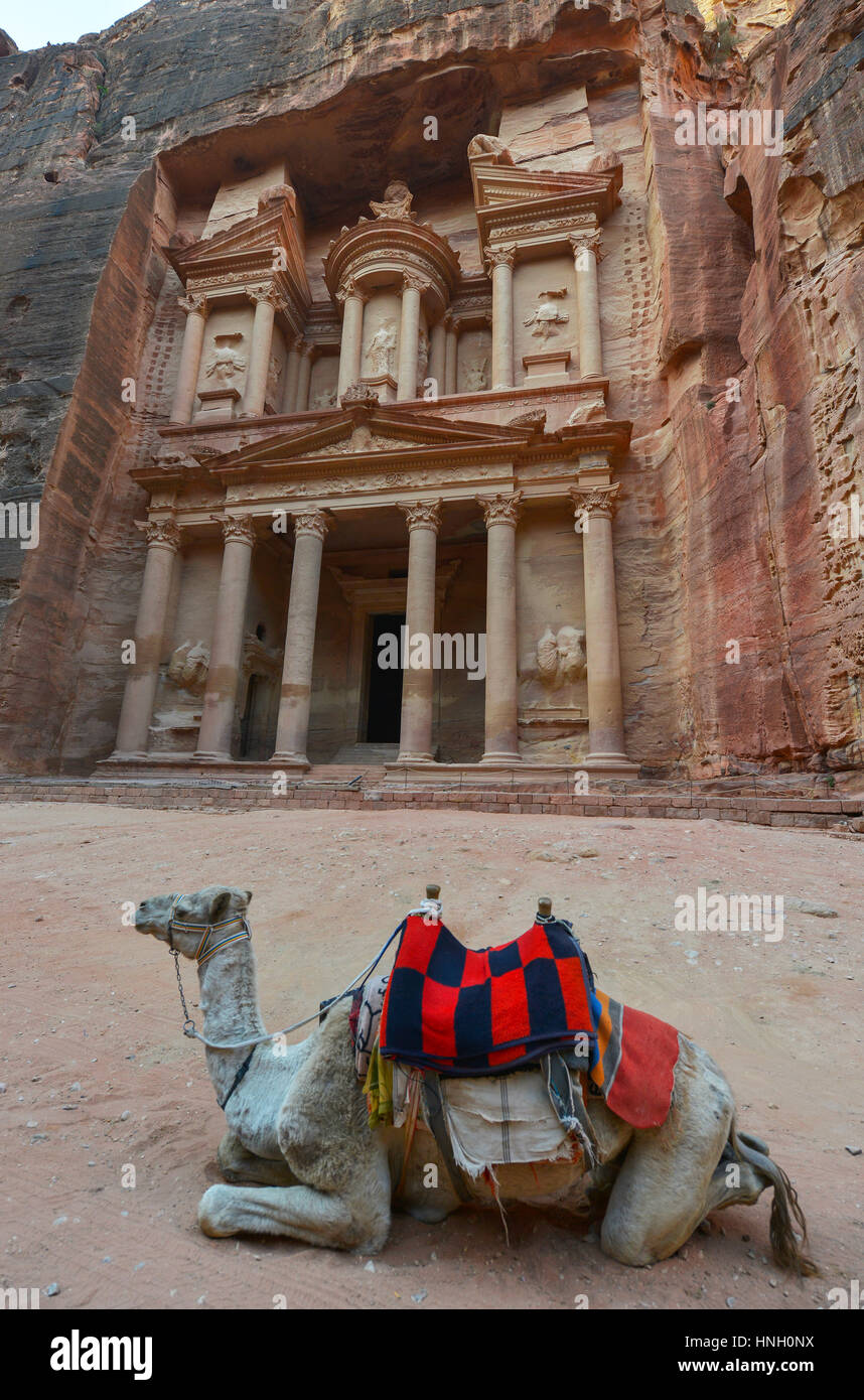 Al Khazneh in the ancient city of Petra, Jordan. The Treasury. Petra has led to its designation as a UNESCO World - Stock Image